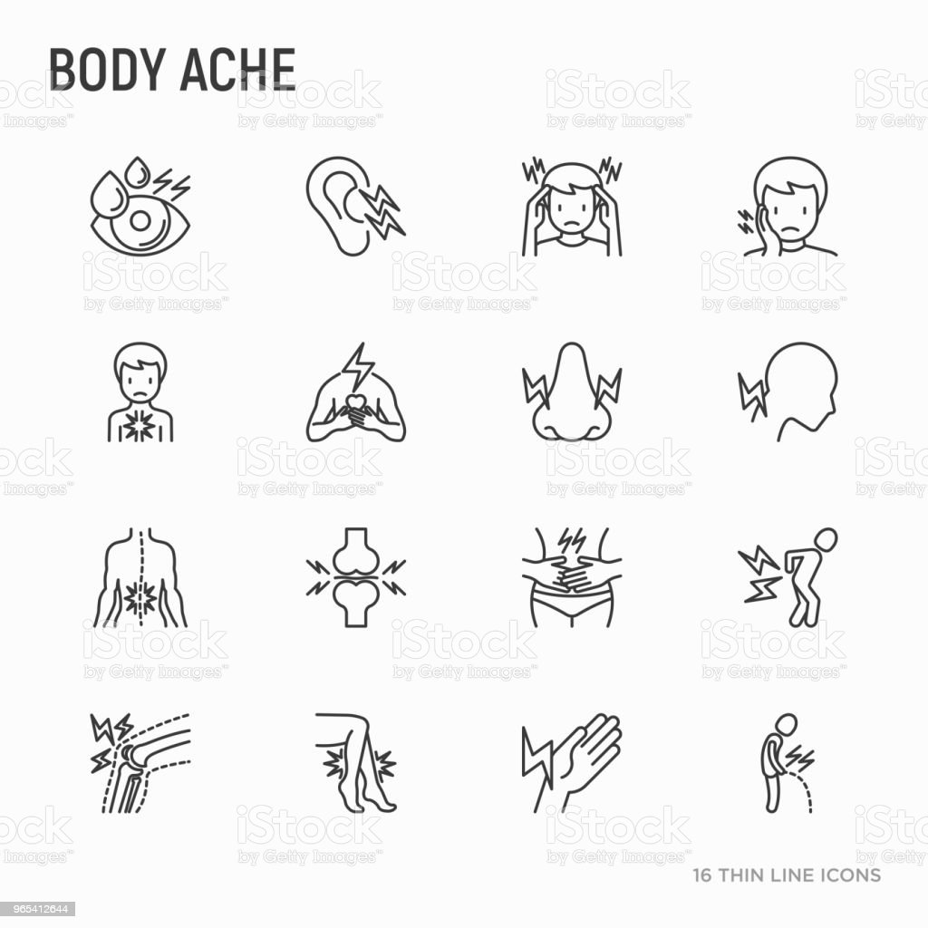 Body Aches Thin Line Icons Set Migraine Toothache Pain In Eyes Ear Nose When Urinating Chest Pain Menstrual Joint Arthritis Rheumatism Modern Vector Illustration - Stockowe grafiki wektorowe i więcej obrazów Artretyzm