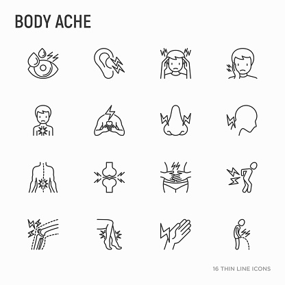 Body Aches Thin Line Icons Set Migraine Toothache Pain In Eyes Ear Nose When Urinating Chest Pain Menstrual Joint Arthritis Rheumatism Modern Vector Illustration Stock Illustration - Download Image Now