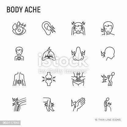 Body Aches Thin Line Icons Set Migraine Toothache Pain In Eyes Ear Nose When Urinating Chest Pain Menstrual Joint Arthritis Rheumatism Modern Vector Illustration - Stockowe grafiki wektorowe i więcej obrazów Artretyzm 965412644