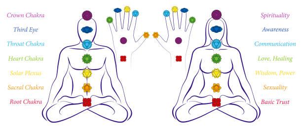 illustrations, cliparts, dessins animés et icônes de chakras de corps et de main d'un homme et d'une femme-illustration d'un couple méditant dans la position de yoga avec les sept chakras principaux et leurs noms. - époux
