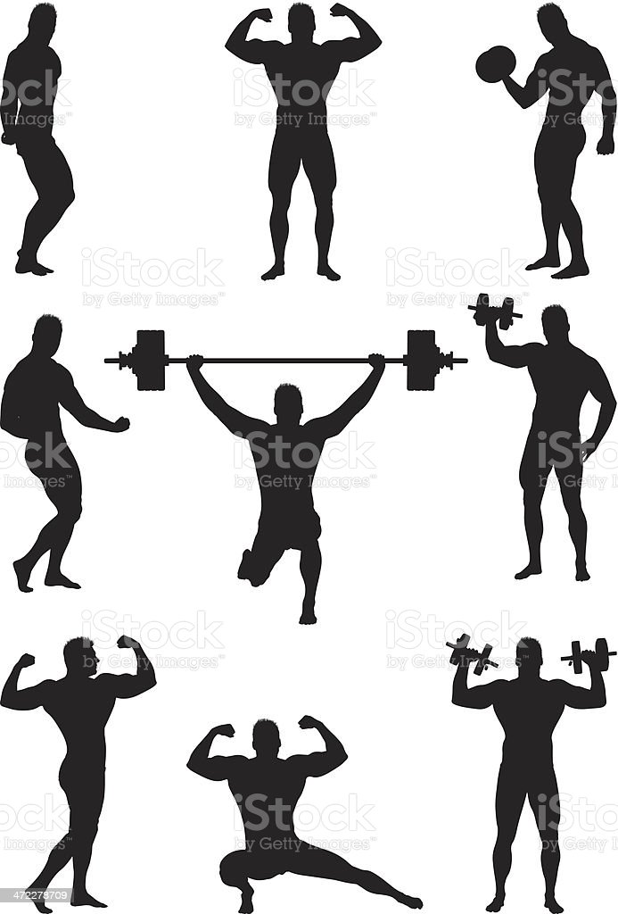 Body builder flexing and lifting weights vector art illustration