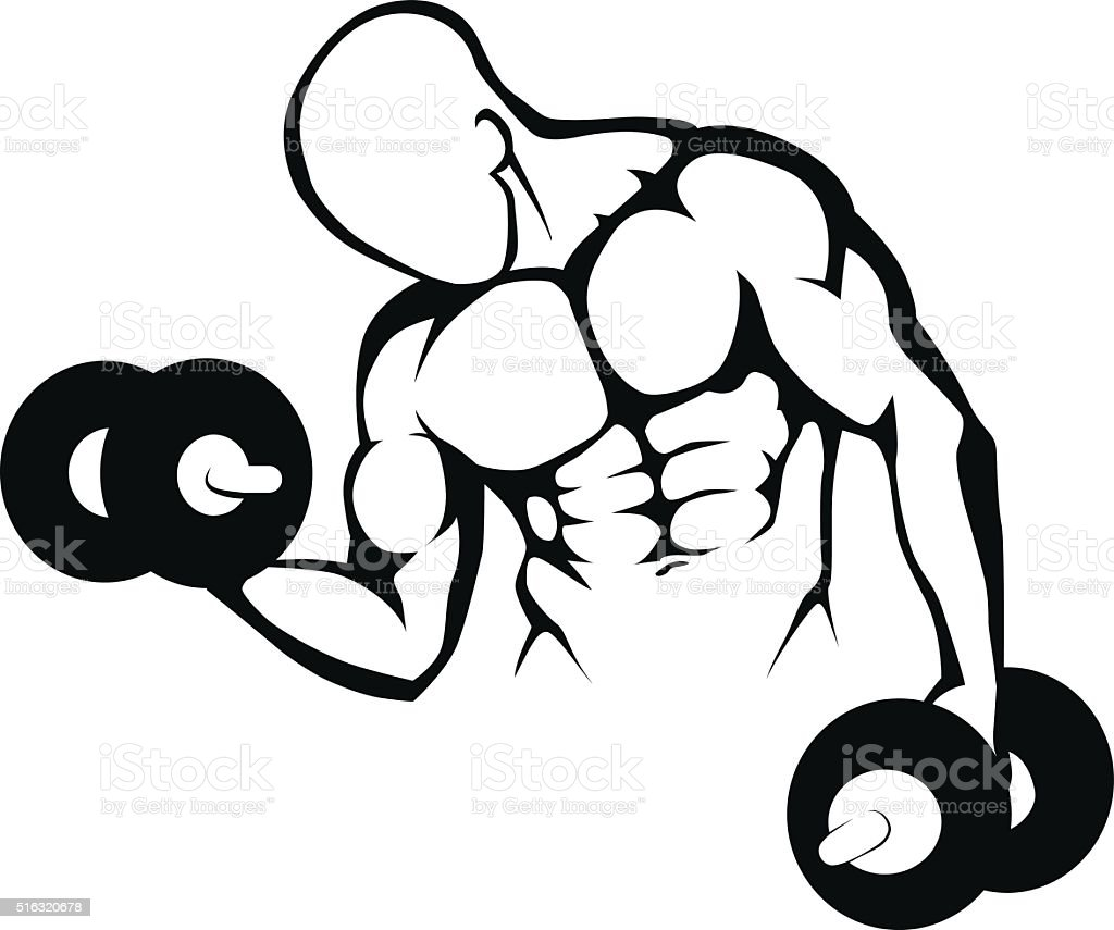 Body builder Gym symbol - Illustration royalty-free body builder gym symbol illustration stock vector art & more images of adult