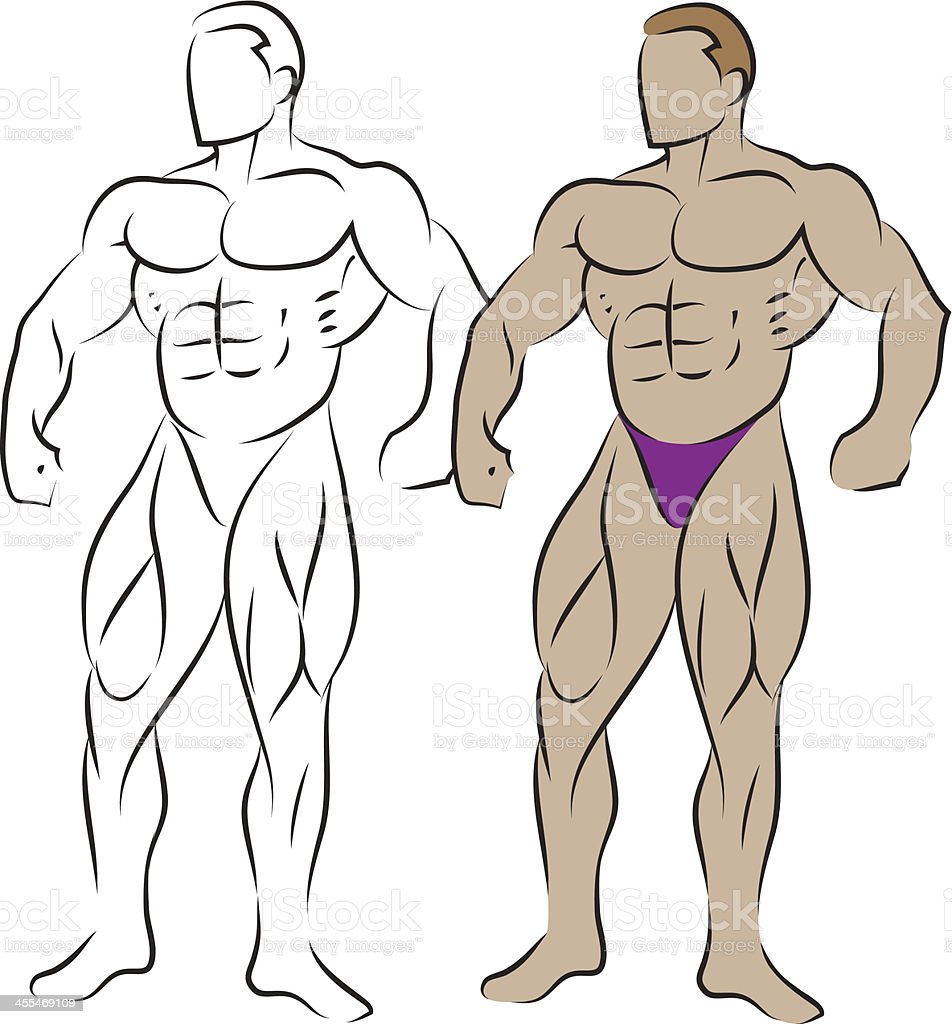 Body builder vector art illustration