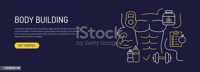 istock Body Building Related Web Banner Line Style. Modern Design Vector Illustration for Web Banner, Website Header etc. 1295806756