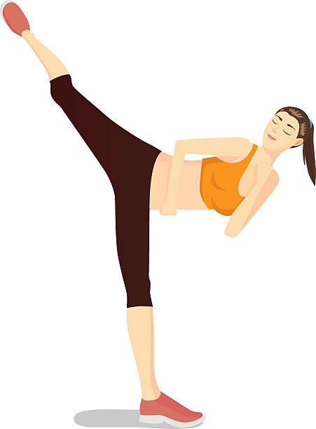 stockillustraties, clipart, cartoons en iconen met body combat workout with high kick movement - kickboksen