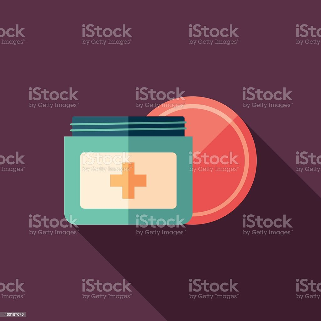 Body cream flat square icon with long shadows. vector art illustration