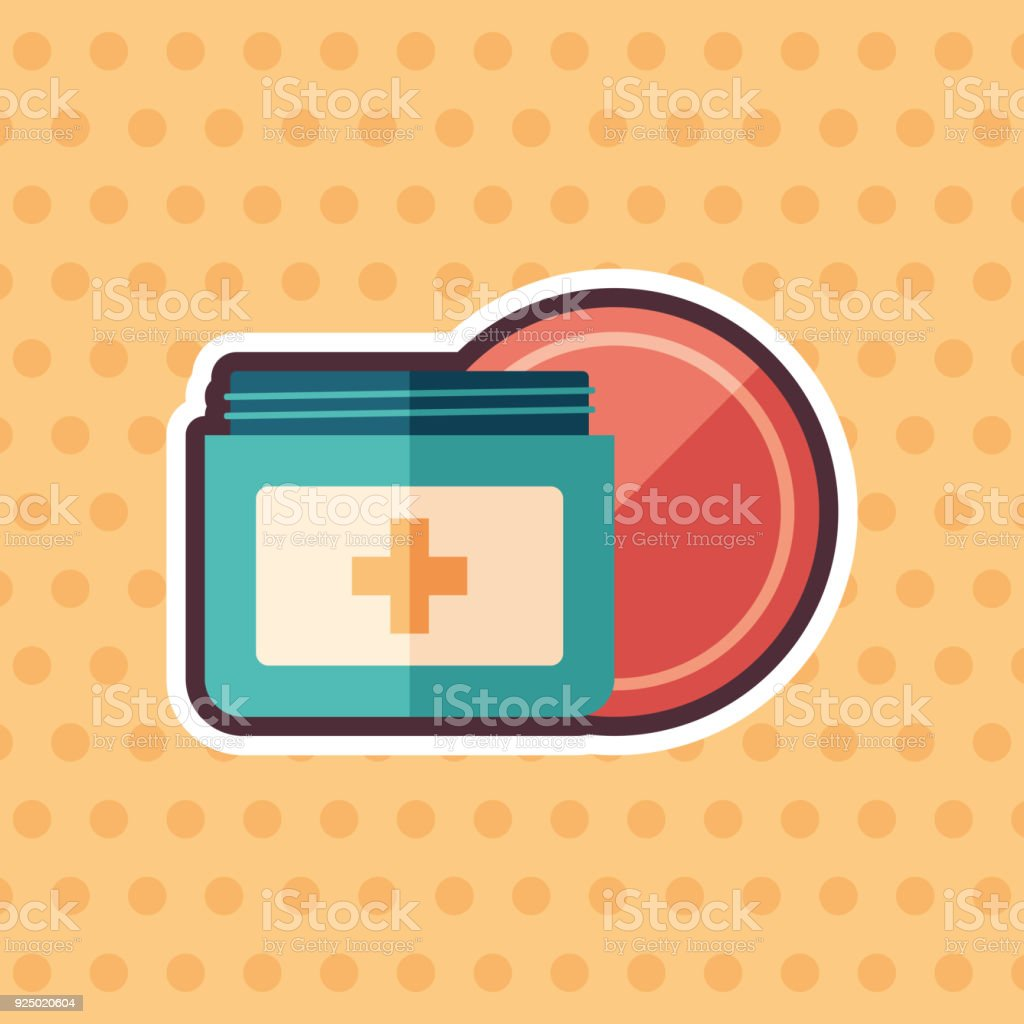 Body cream sticker flat icon with color background. vector art illustration