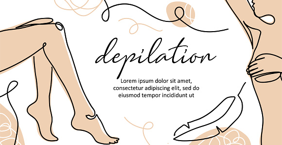 Body depilation vector banner. Lady legs, armpit simple poster, background, label design. One continuous line art. Body depilation illustration
