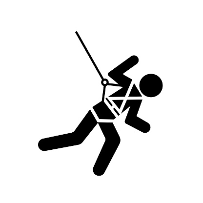 Body Harness And Lifeline Required Black Icon, Vector Illustration, Isolate On White Background Label. EPS10