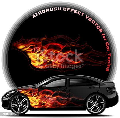 Spectacular fiery tail for car tuning. Airbrush effect vector. EPS 10.
