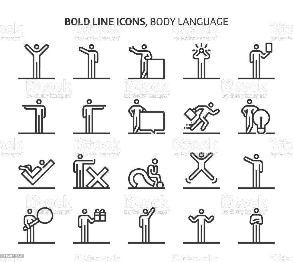 Lenguaje corporal, los iconos de línea - ilustración de arte vectorial