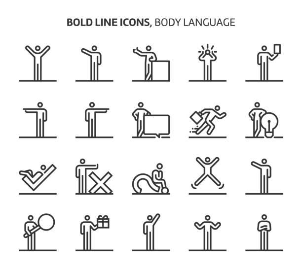 body language, bold line icons - jumping stock illustrations
