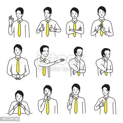 istock Body language hand sign set 837255190