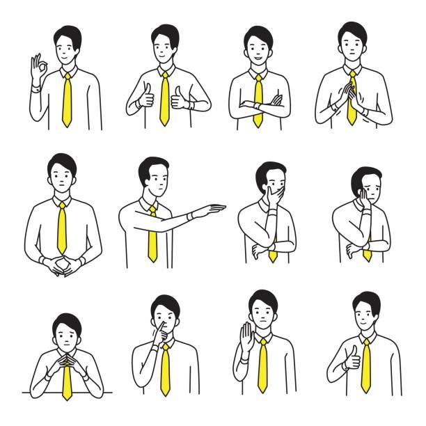 körpersprache-hand-zeichen-set - gestikulieren stock-grafiken, -clipart, -cartoons und -symbole