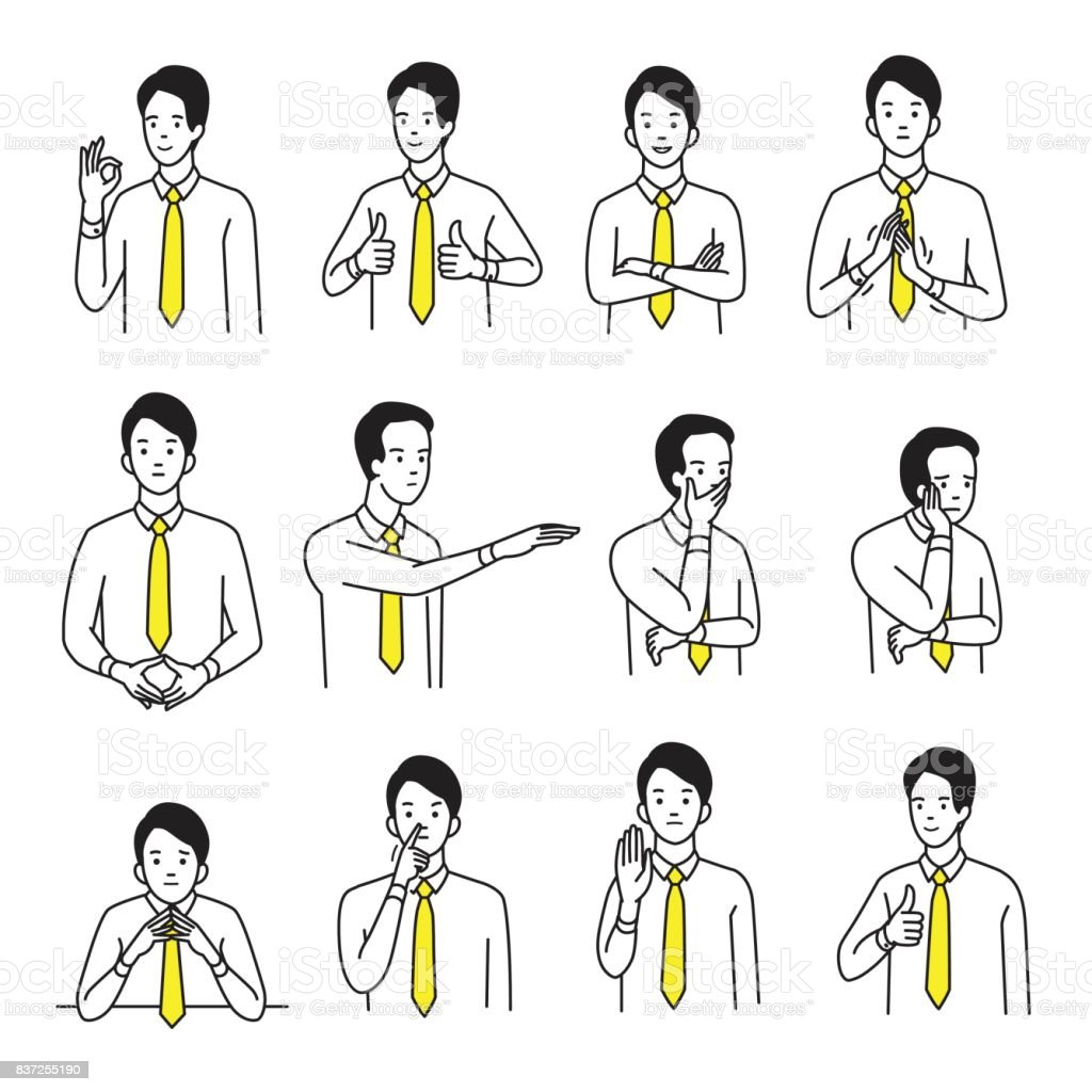 Body language hand sign set vector art illustration