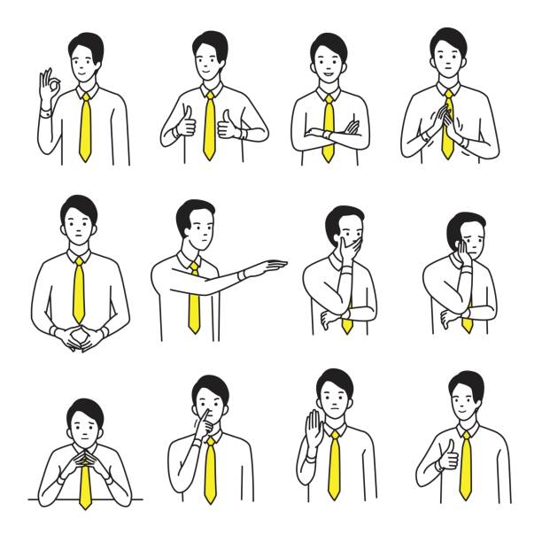body language hand sign set - cartoon people stock illustrations, clip art, cartoons, & icons