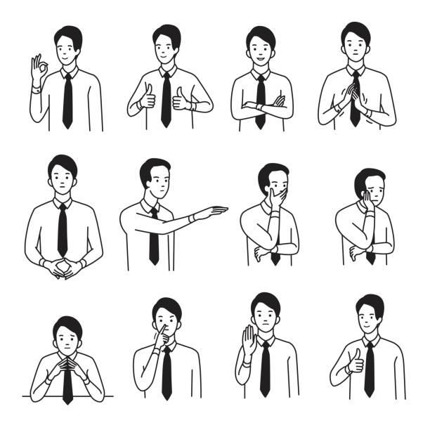 신체 언어 손 기호 세트 - 단정한 사무복 stock illustrations