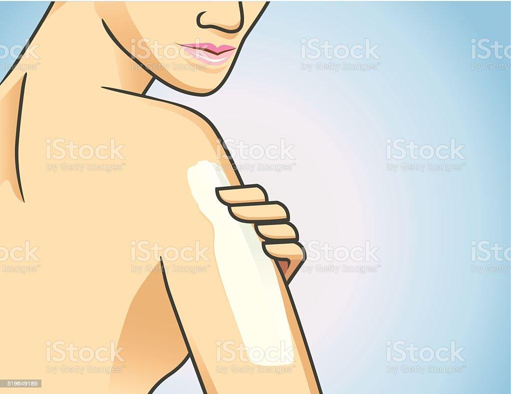Body lotion on arm vector art illustration