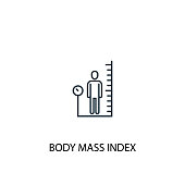 body mass index concept line icon. Simple element illustration. body mass index concept outline symbol design. Can be used for web and mobile UI/UX