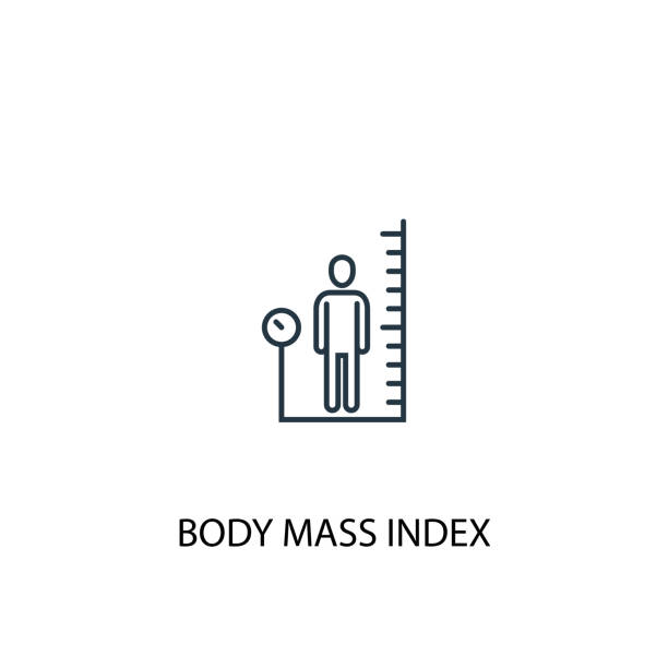 body mass index concept line icon. Simple element illustration. body mass index concept outline symbol design. Can be used for web and mobile UI/UX body mass index concept line icon. Simple element illustration. body mass index concept outline symbol design. Can be used for web and mobile UI/UX high up stock illustrations
