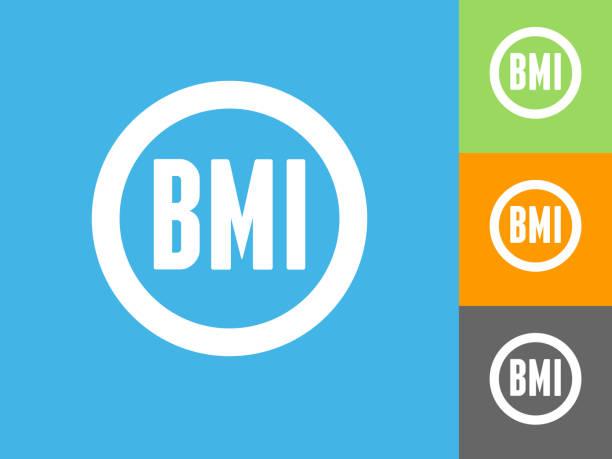 Body-Mass-Index flache Symbol auf blauem Hintergrund – Vektorgrafik