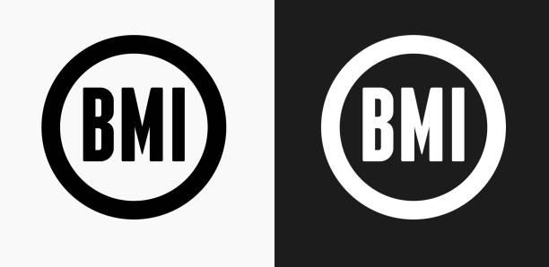 Body-Mass-Index-Symbol auf schwarz-weiß-Vektor-Hintergründe – Vektorgrafik