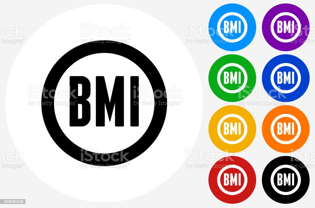 Body Mass Index Icon on Flat Color Circle Buttons – Vektorgrafik