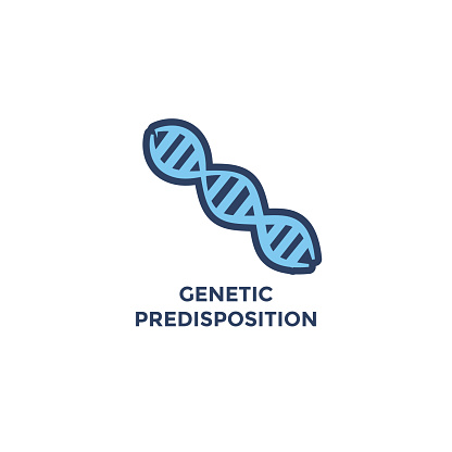 BMI - Body Mass Index Icon with DNA strand for Genetic Disposition - green and blue