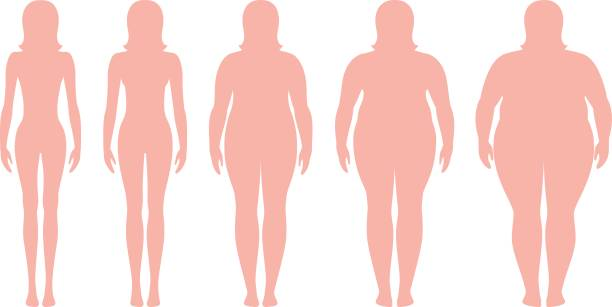 illustrazioni stock, clip art, cartoni animati e icone di tendenza di body mass index vector illustration from underweight to extremely obese. woman silhouettes with different obesity degrees. - obesity