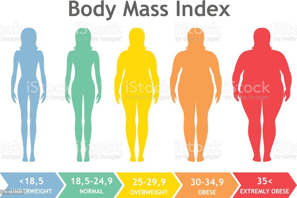 Body mass index vector illustration from underweight to extremely obese. Woman silhouettes with different obesity degrees. vector art illustration