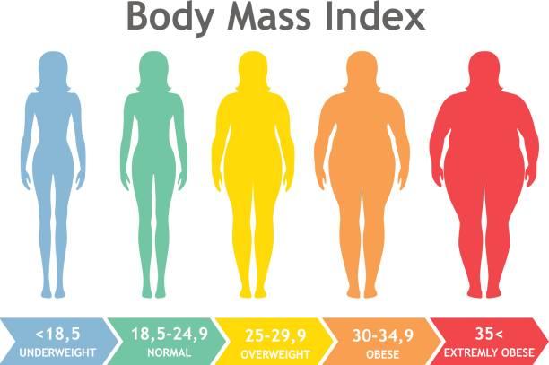 Body-mass-Index Vektor-Illustration von Untergewicht, stark übergewichtig. Frau Silhouetten mit verschiedenen Adipositas Grad. – Vektorgrafik