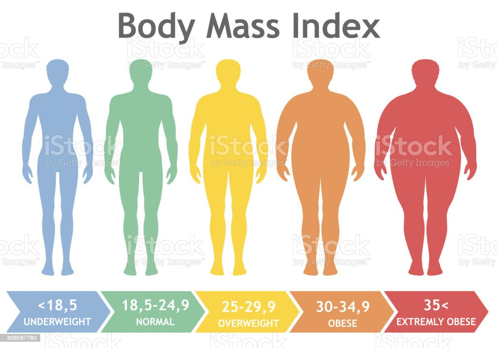 Body mass index vector illustration from underweight to extremely obese. Man silhouettes with different obesity degrees. vector art illustration