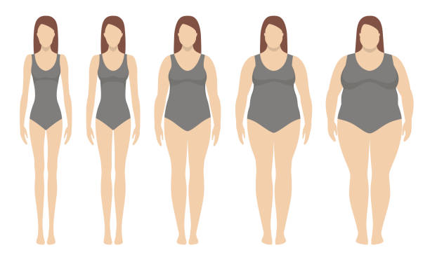 illustrazioni stock, clip art, cartoni animati e icone di tendenza di body mass index vector illustration from underweight to extremly obese. woman silhouettes with different obesity degrees. - obesity