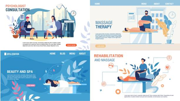 Body Mental Therapy Rehabilitation Services Set Body Mental Therapy and Rehabilitation Services Set. Flat Landing Page for Professional Recovery Massage, Medical Consultation, Psychologist Counseling, Beauty and Spa Services. Vector Illustration physical therapy stock illustrations