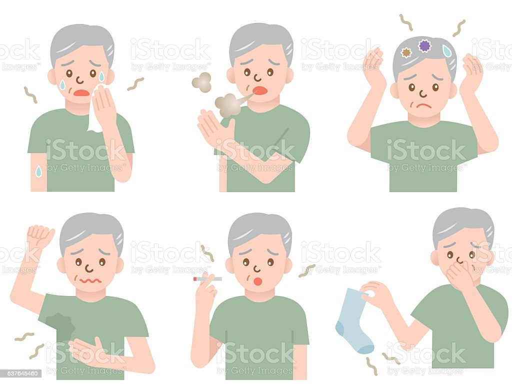 body odor man vector art illustration