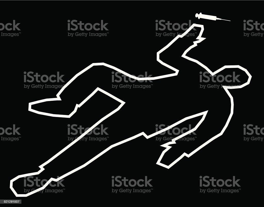 Body Outline Drug Overdose vector art illustration