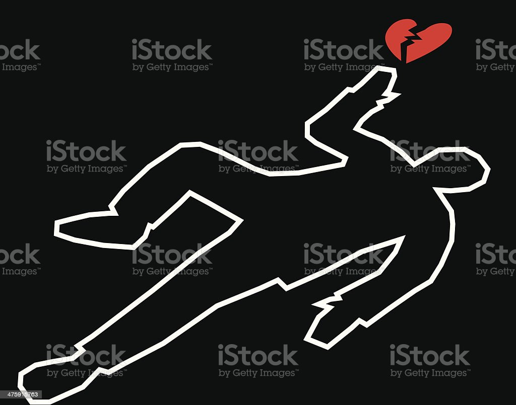 Body Outline With Broken Heart vector art illustration