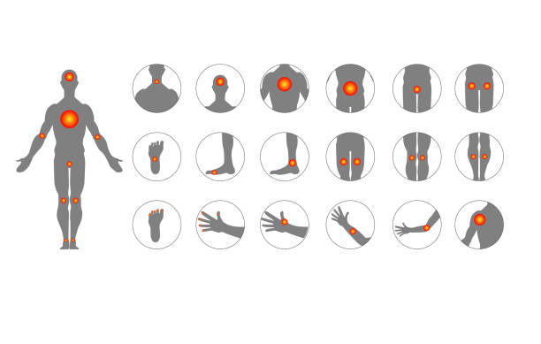body pain, injury icon set, anatomy silhouette. Point body design. Sore throat, headache, heartache, heartburn. Medical treatment concept. Infographics body pain, injury icon set, anatomy silhouette. Point body design. Sore throat, headache, heartache, heartburn. Medical treatment concept. Infographics heartburn throat pain stock illustrations