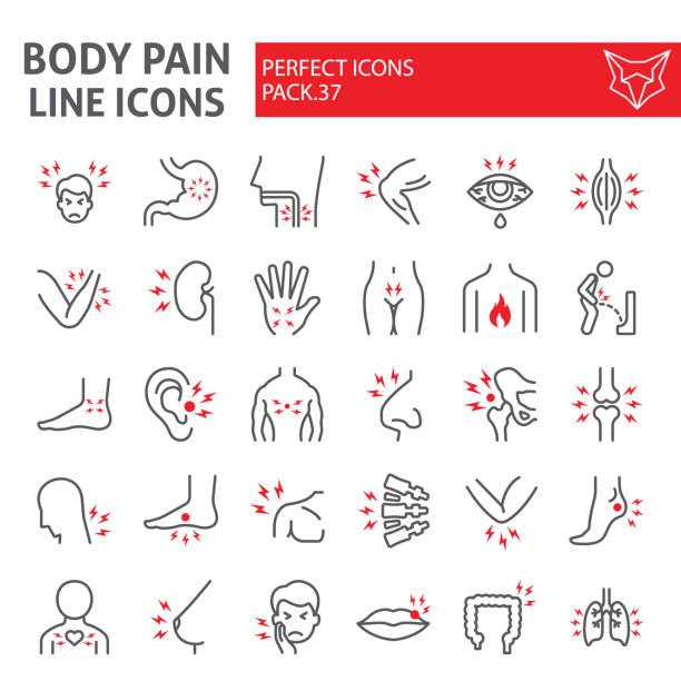 illustrazioni stock, clip art, cartoni animati e icone di tendenza di body pain line icon set, organs ache symbols collection, vector sketches, logo illustrations, sickness signs linear pictograms package isolated on white background. - dolore fisico
