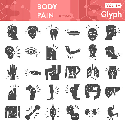 Body pain solid icon set, Pain in human body symbols collection or sketches. Male body parts glyph style signs for web and app. Vector graphics isolated on white background.