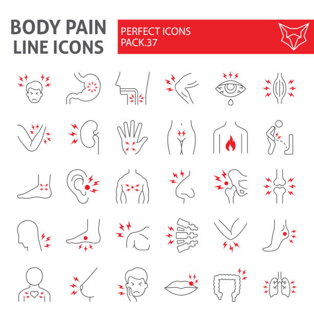 illustrazioni stock, clip art, cartoni animati e icone di tendenza di body pain thin line icon set, organs ache symbols collection, vector sketches, logo illustrations, sickness signs linear pictograms package isolated on white background. - dolore fisico