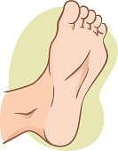 body part illustration, plant or sole of the foot, caucasian