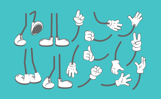 Body parts cartoon. Hands and legs animation creation kit clothing boots for characters arm glove vector