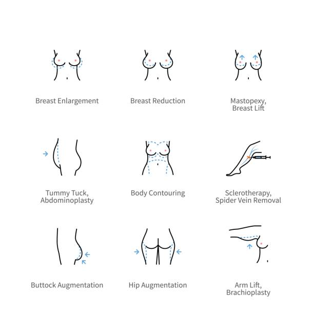 Body plastic surgery and aesthetic medicine icons vector art illustration
