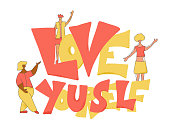 Love yourself emblem phrase. Body diversity concept. Therapy positive quote with various girls. Female characters with different features of physical appearance. Vector illustration.