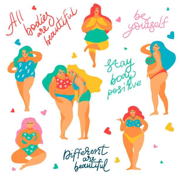 Body positive concept Hand drawn body positive set,Feminism concept.Diversity of female figures,happy smiling plus size girls in bikini,Lettering motivating phrases-All bodies are beautiful,Be yourself,Stay Body Positive body positive stock illustrations