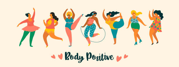 Body positive. Happy plus size girls and active lifestyle. Body positive. Happy plus size girls and active lifestyle. Vector illustration. body positive stock illustrations