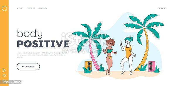istock Body Positive Landing Page Template. Young Girls Characters Wearing Swim Suits Dancing on Seaside at Summer Beach Party 1284621865