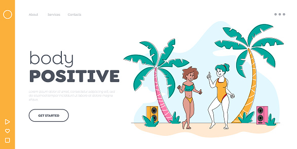 Body Positive Landing Page Template. Young Girls Characters Wearing Swim Suits Dancing on Seaside at Summer Beach Party