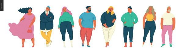 Body positive portraits set Body positive portraits set - hand drawn flat style vector design concept illustration of men and women, male and female figuers. Flat style vector icons set body positive stock illustrations